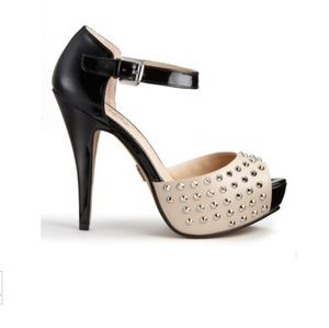 R&R Black/Beige Studded Platform High Heels 8.5M